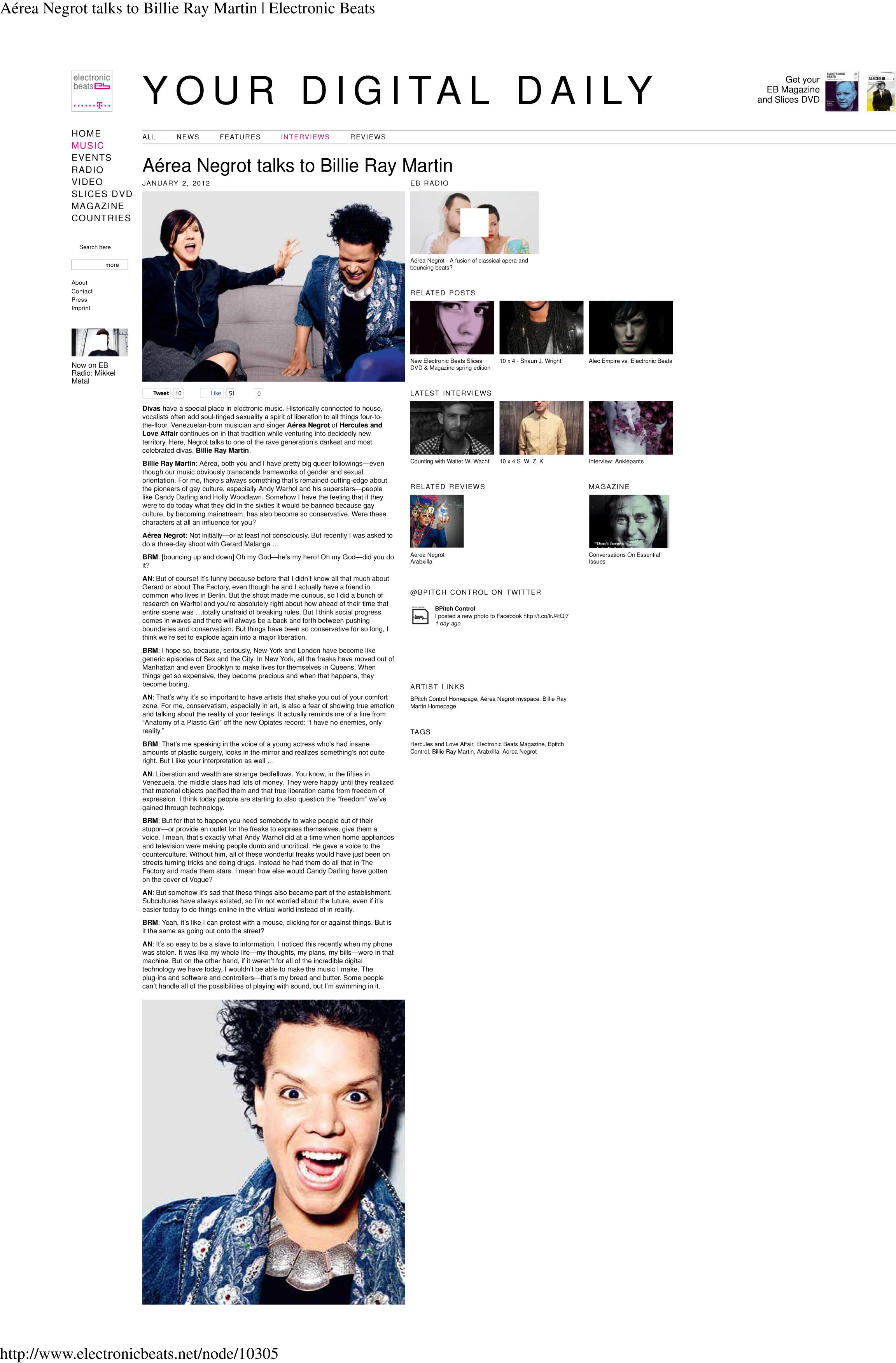 (A351rea Negrot talks to Billie Ray Martin | Electronic Beats)